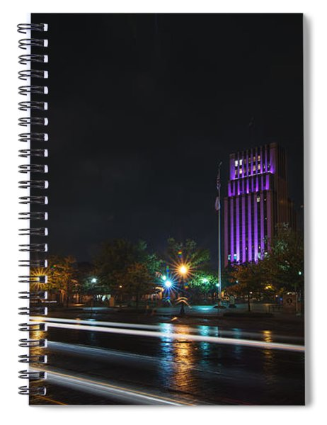 Downtown Tyler Texas At Night Spiral Notebook