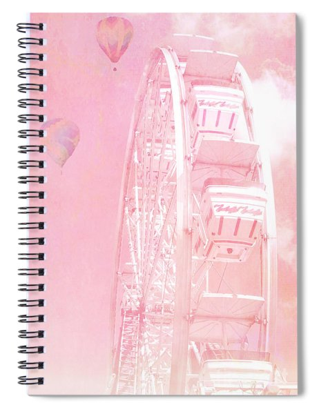 Dreamy Baby Pink Ferris Wheel Carnival Art With Hot Air Balloons Spiral Notebook