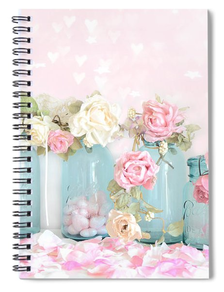 Dreamy Shabby Chic Pink White Roses  - Vintage Aqua Teal Ball Jars Romantic Floral Roses  Spiral Notebook
