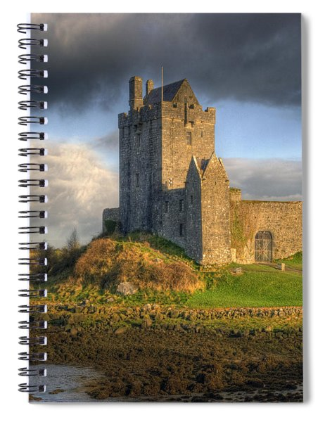 Dunguaire Castle With Dramatic Sky Kinvara Galway Ireland Spiral Notebook