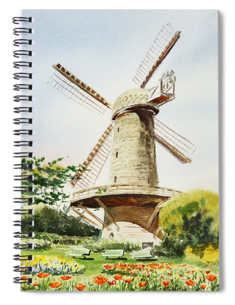 Dutch Windmill In San Francisco  Spiral Notebook