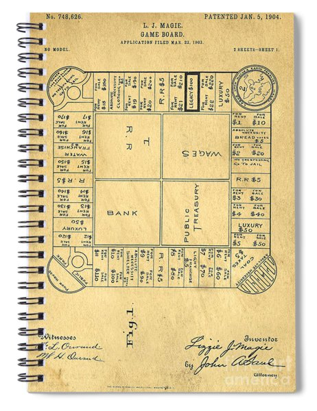 Early Version Of Monopoly Board Game Patent Spiral Notebook