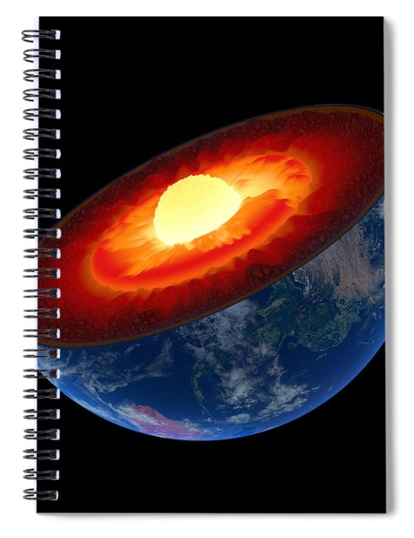 Earth Core Structure To Scale - Isolated Spiral Notebook