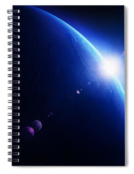Earth Sunrise With Moon In Space Spiral Notebook