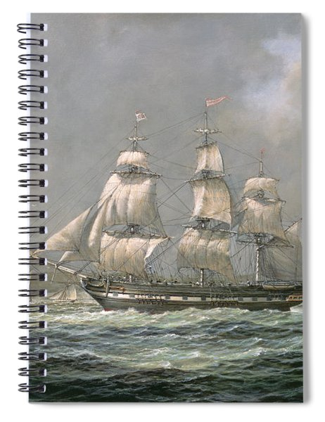 East Indiaman Hcs Thomas Coutts Off The Needles     Isle Of Wight Spiral Notebook