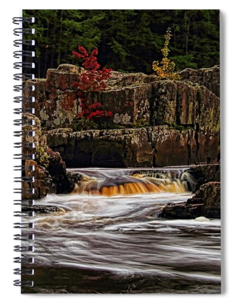 Waterfall Under Colored Leaves Spiral Notebook