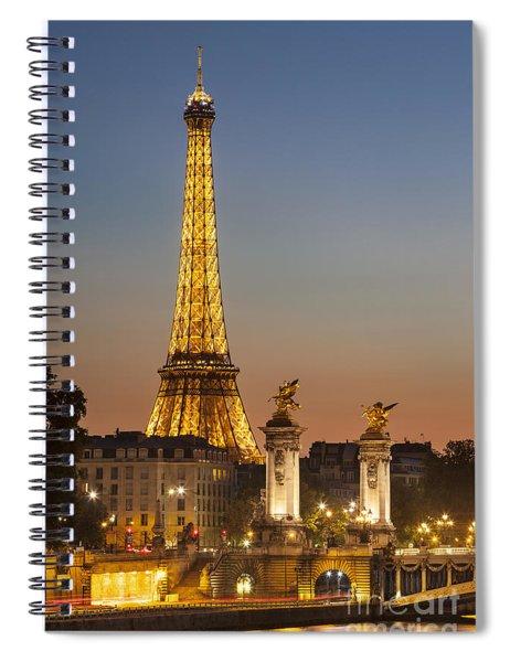Spiral Notebook featuring the photograph Eiffel At Twilight by Brian Jannsen