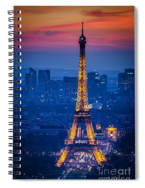 Spiral Notebook featuring the photograph Eiffel Tower At Twilight by Brian Jannsen