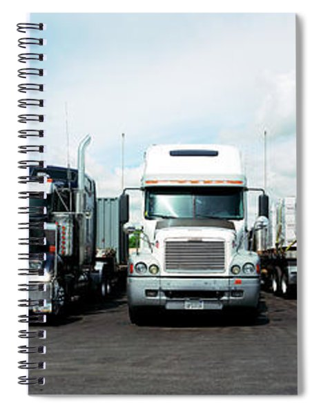 Eighteen Wheeler Vehicles On The Road Spiral Notebook