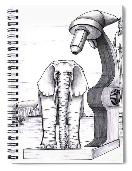 Elephant Examined Under Huge Microscope Outside Spiral Notebook