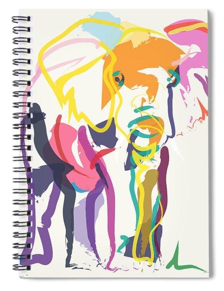 Elephant In Color Ecru Spiral Notebook