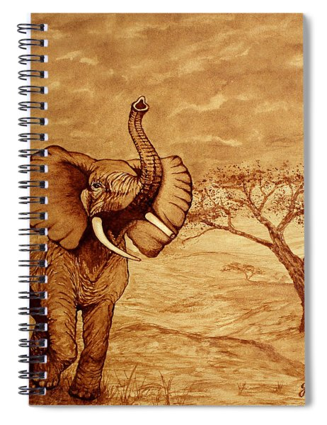 Elephant Majesty Original Coffee Painting Spiral Notebook