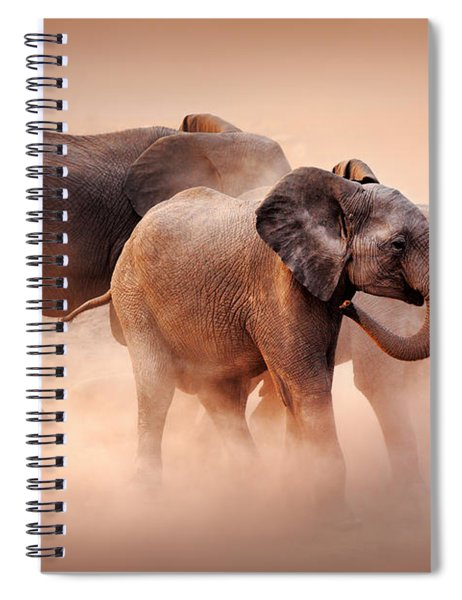 Elephants In Dust Spiral Notebook