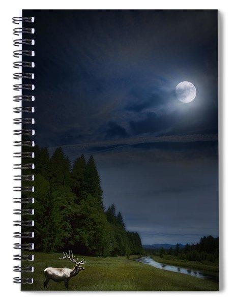 Elk Under A Full Moon Spiral Notebook