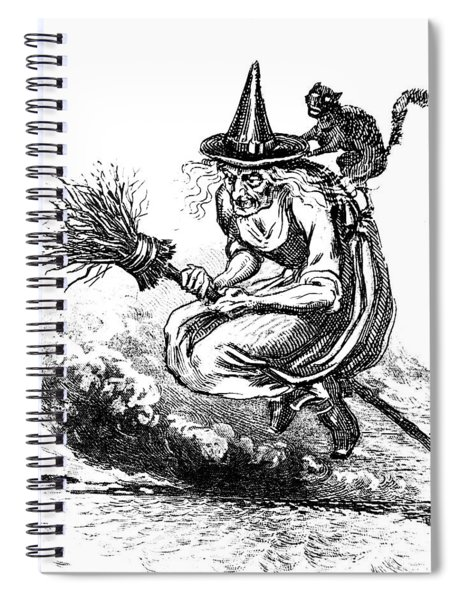 Engraving Of Ugly Old Witch Riding Spiral Notebook
