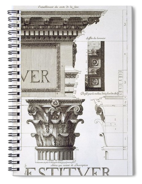Entablature, Capital And Inscription Spiral Notebook