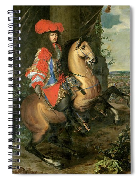 Equestrian Portrait Of Louis Xiv 1638-1715 Oil On Canvas Spiral Notebook