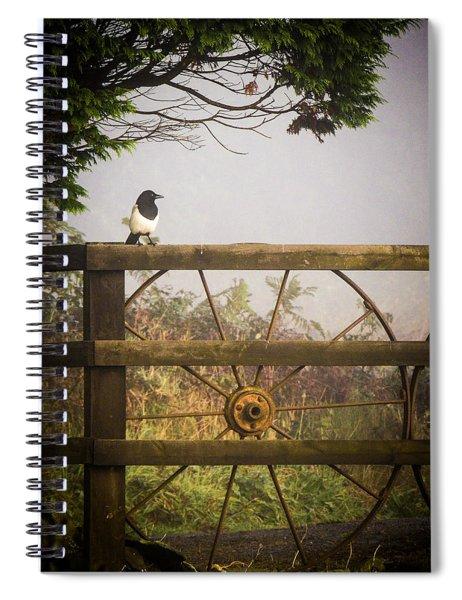 Eurasian Magpie In Morning Mist Spiral Notebook