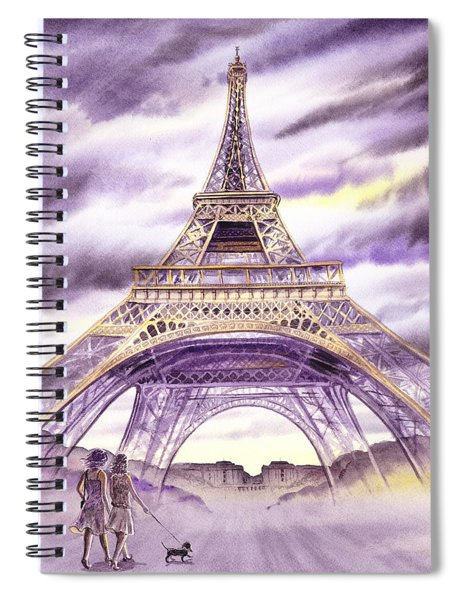 Evening In Paris A Walk To The Eiffel Tower Spiral Notebook