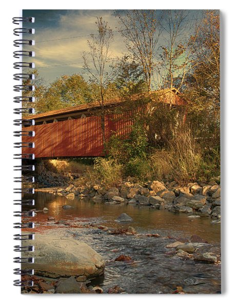 Everett Rd Summit County Ohio Covered Bridge Fall Spiral Notebook