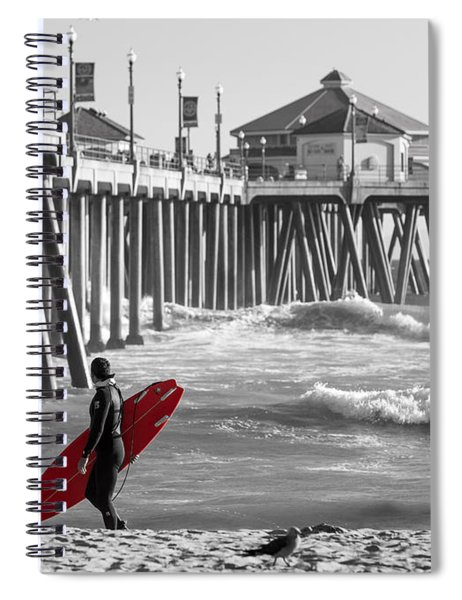 Existential Surfing At Huntington Beach Selective Color Spiral Notebook