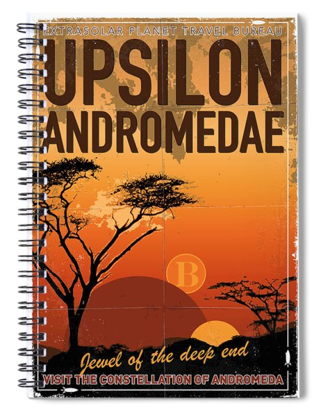 Exoplanet 06 Travel Poster Upsilon Andromedae 4 Spiral Notebook