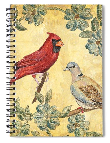 Exotic Bird Floral And Vine 2 Spiral Notebook by Debbie DeWitt