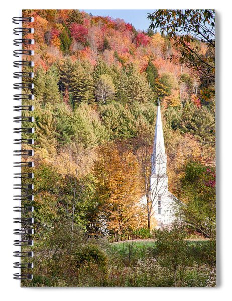 Fall Colors Over Vermont Church Spiral Notebook