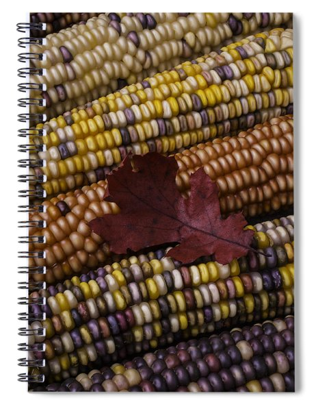 Fall Indian Corn With Leaf Spiral Notebook