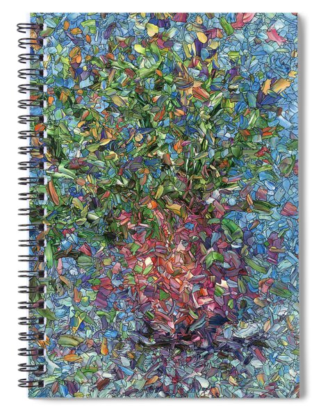 Spiral Notebook featuring the painting Falling Flowers by James W Johnson
