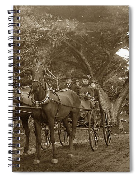 Family Out Carriage Ride On The 17 Mile Drive In Pebble Beach Circa 1895 Spiral Notebook