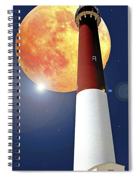 Fantasy Lighthouse And Full Moon Poster Image Spiral Notebook