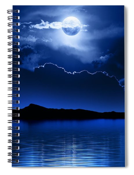 Fantasy Moon And Clouds Over Water Spiral Notebook