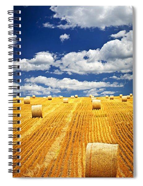 Farm Field With Hay Bales In Saskatchewan Spiral Notebook