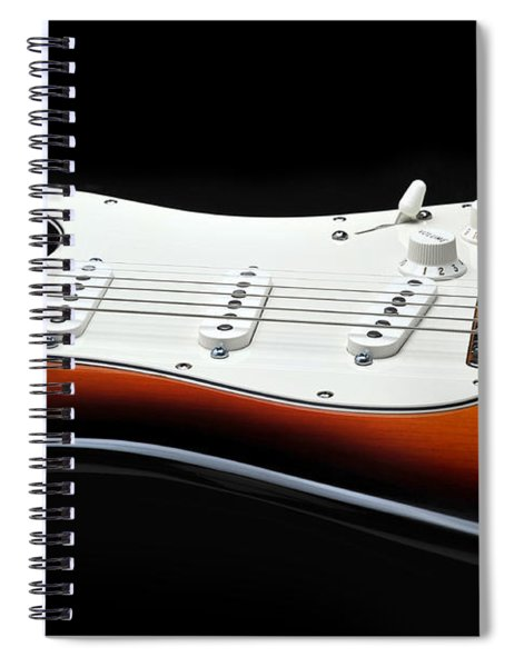 Fender Stratocaster Guitar On Black Background Spiral Notebook