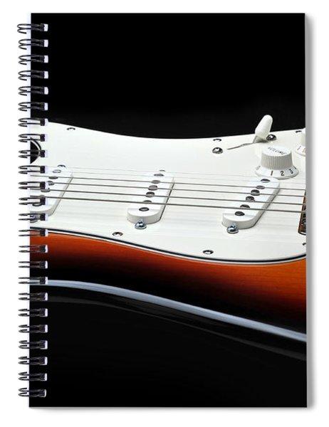 Fender Stratocaster Guitar On Black Background Spiral Notebook