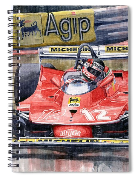 Ferrari  312t4 Gilles Villeneuve Monaco Gp 1979 Spiral Notebook