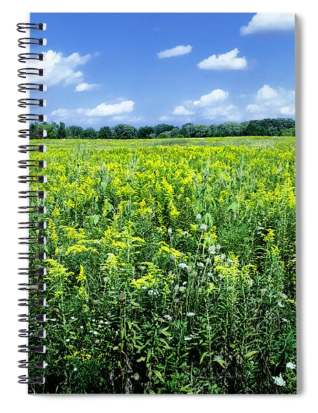 Field Of Flowers Sky Of Clouds Spiral Notebook