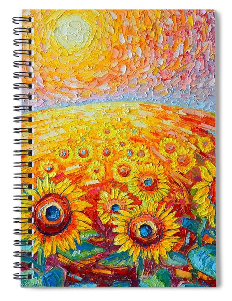 Fields Of Gold - Abstract Landscape With Sunflowers In Sunrise Spiral Notebook