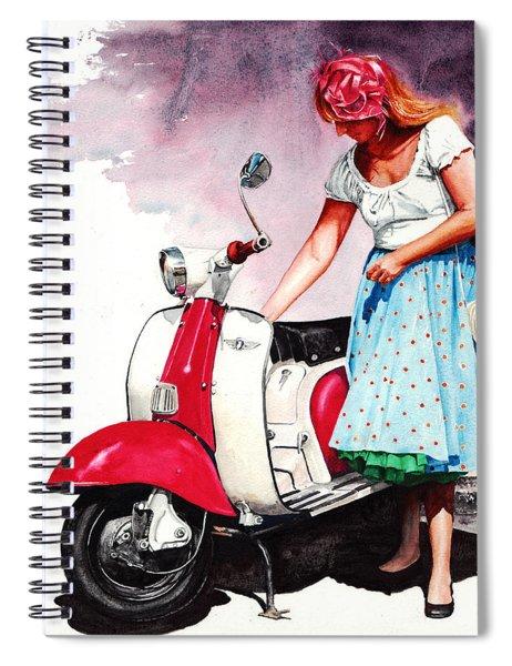 Fifties Lambretta Girl Spiral Notebook