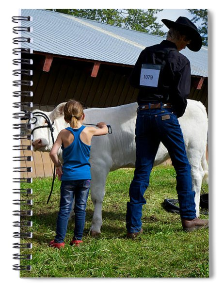 Final Touches On The Charolais Heifer  Spiral Notebook