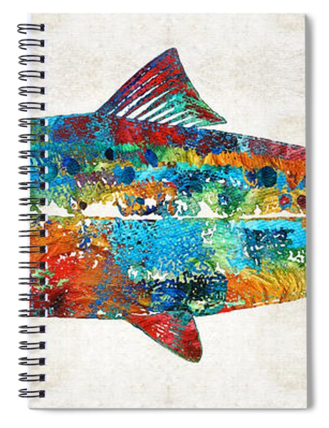 Fish Art Print - Colorful Salmon - By Sharon Cummings Spiral Notebook