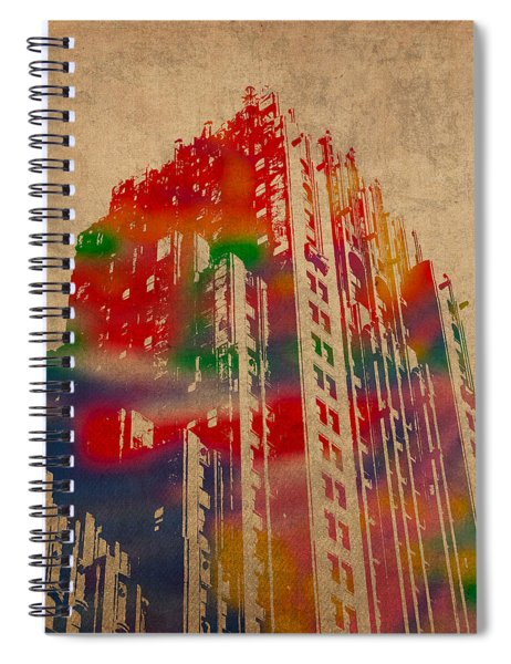 Fisher Building Iconic Buildings Of Detroit Watercolor On Worn Canvas Series Number 4 Spiral Notebook