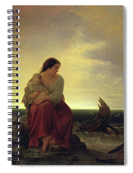 Fishermans Wife Mourning On The Beach Oil On Canvas Spiral Notebook