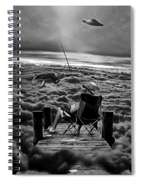 Fishing Above The Clouds Grayscale Spiral Notebook