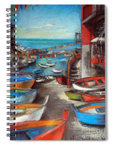 Fishing Boats In Riomaggiore Spiral Notebook