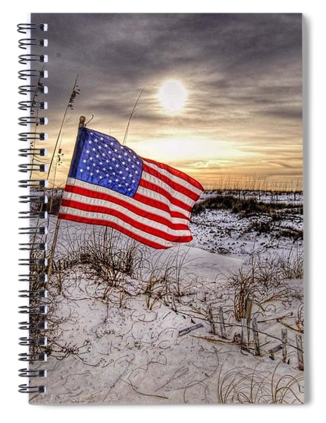 Flag On The Beach Spiral Notebook