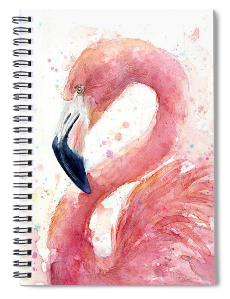 Flamingo Watercolor Painting Spiral Notebook