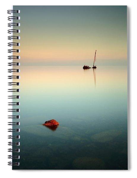 Flat Calm Shipwreck Sunrise Spiral Notebook