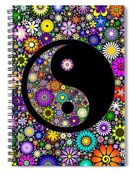Spiral Notebook featuring the digital art Floral Yin Yang by Tim Gainey